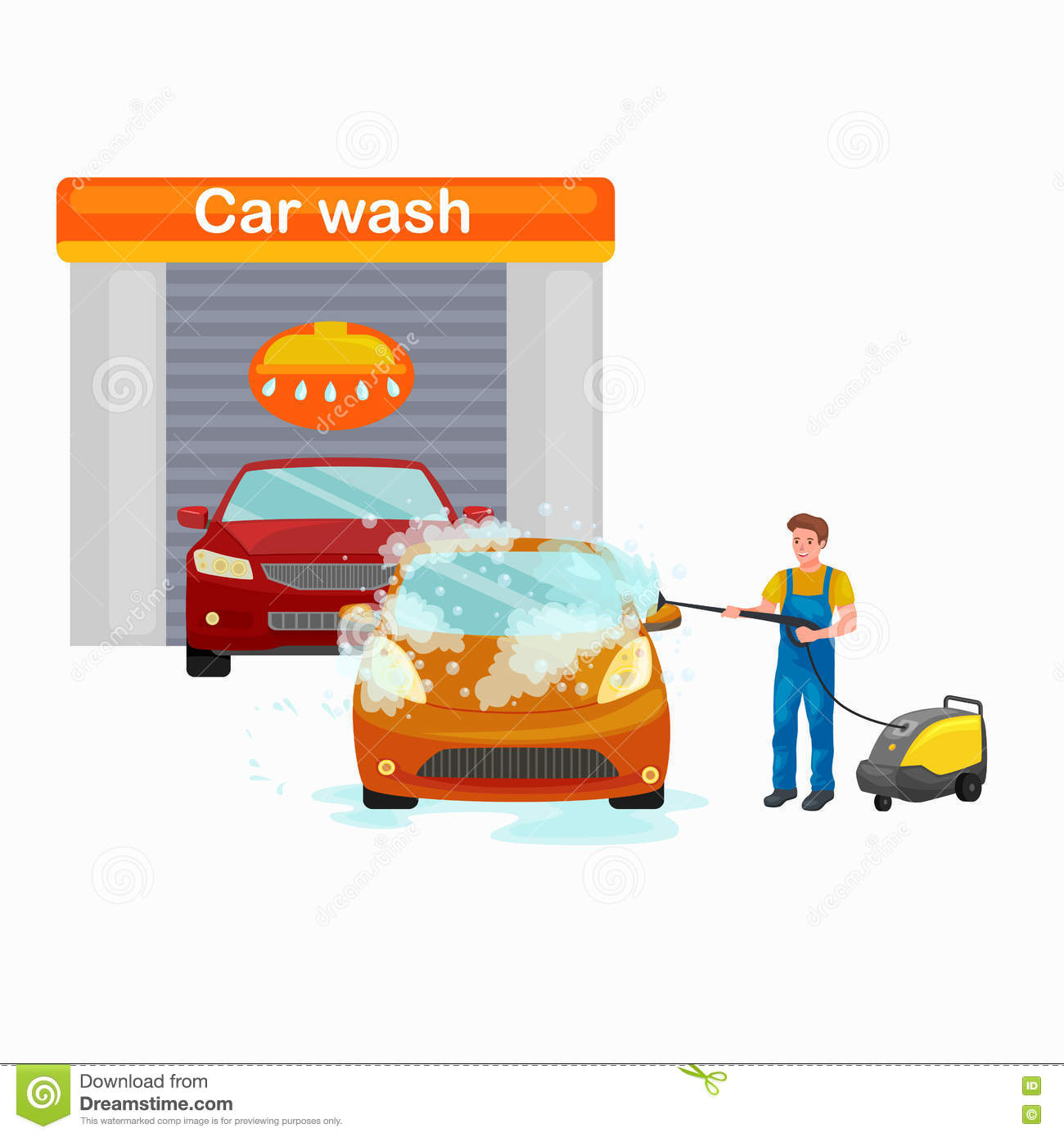 car service auto wash and transport cleaning cartoon vector 83988341. Black Bedroom Furniture Sets. Home Design Ideas