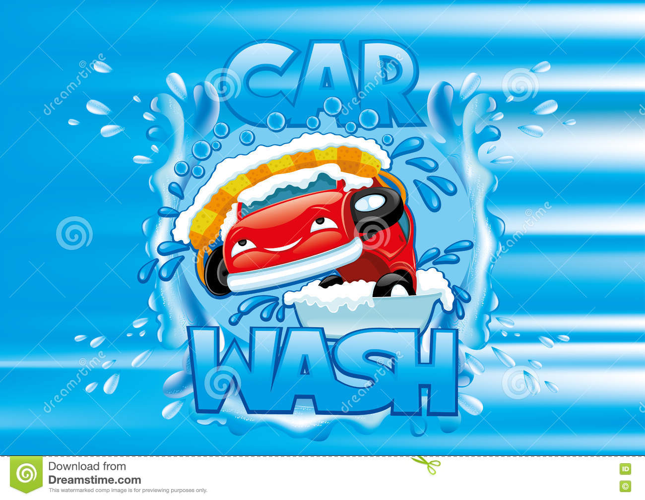 Car Wash Sign Stock Vector Illustration Of Motor Happy