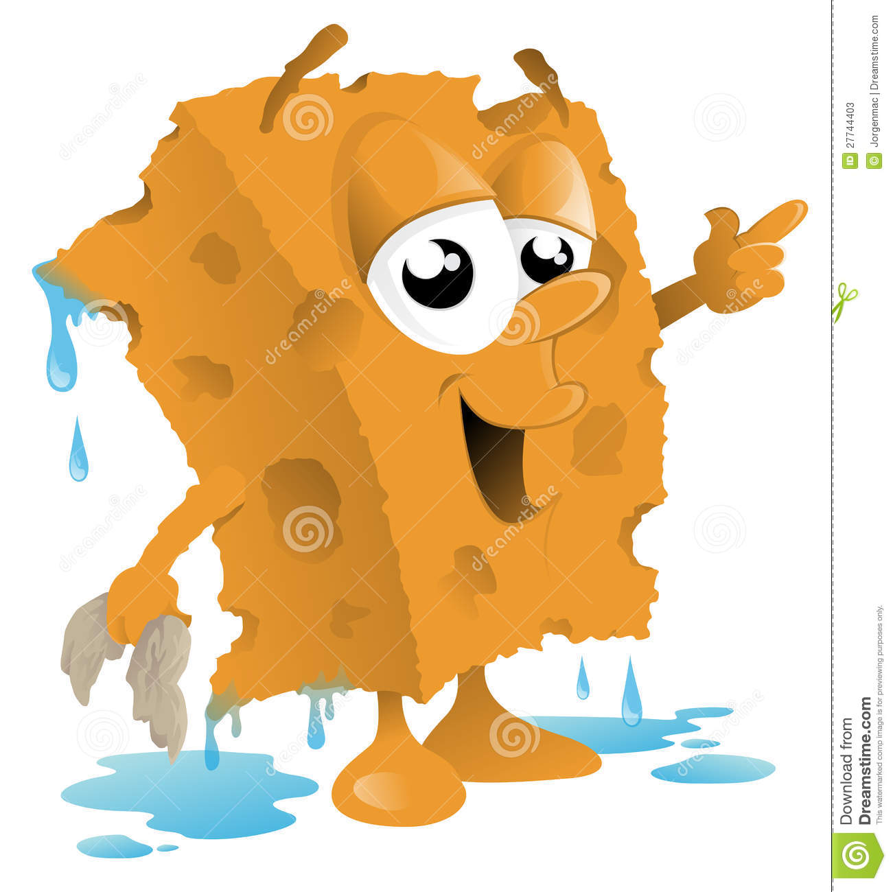 Vector illustration of a cute sponge character all ready to wash a car