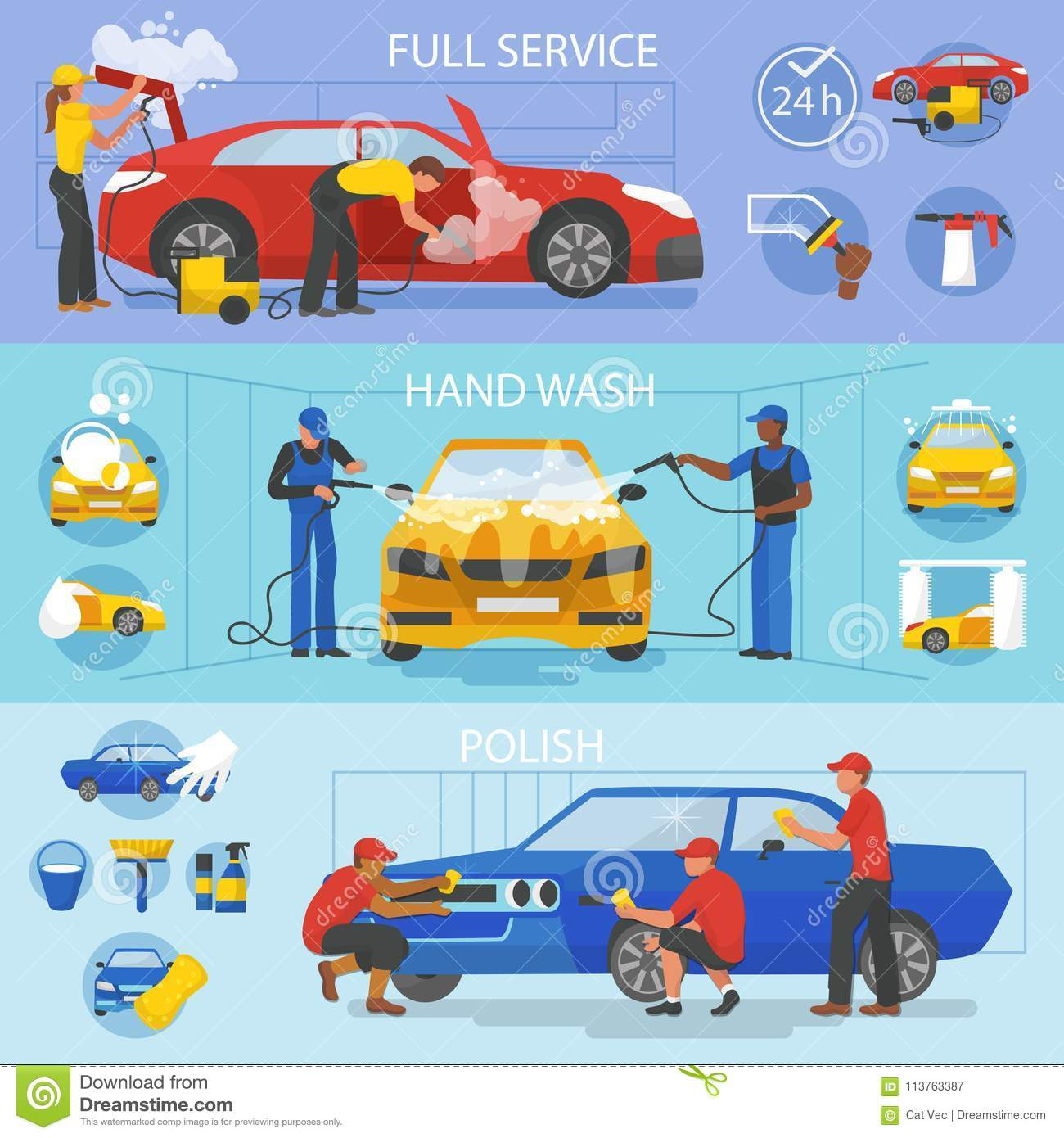 Car wash vector car-washing service with people cleaning auto or vehicle illustration set of car-wash and characters
