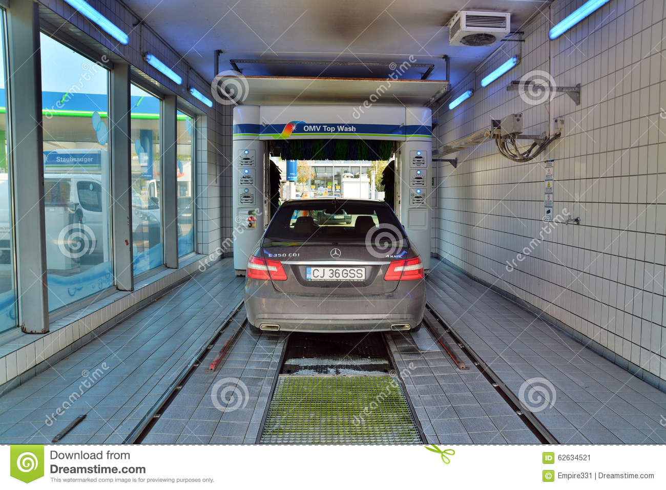 Editorial Photo Car Wash Vienna Austria October Mercedes Omv Gas Station Shot Taken October Th Image62634521 on commercial pressure washing