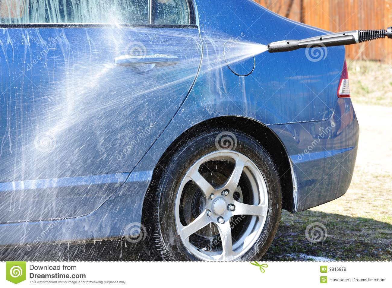 Spray Car Wash >> Car washing stock image. Image of soap, working, water - 9816879