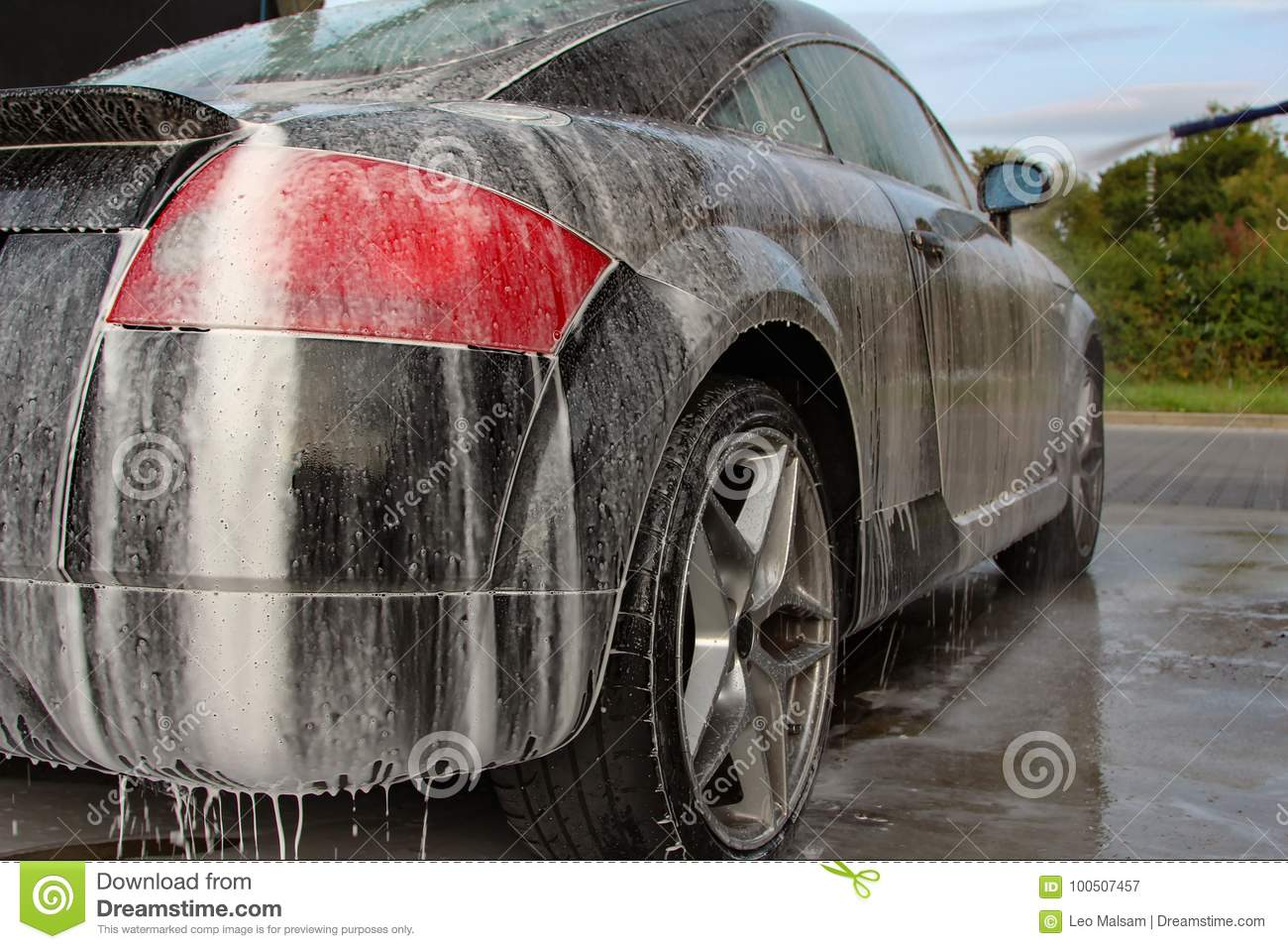Download Car Washing With Foam Shampoo. Stock Image - Image of glass, transport: 100507457