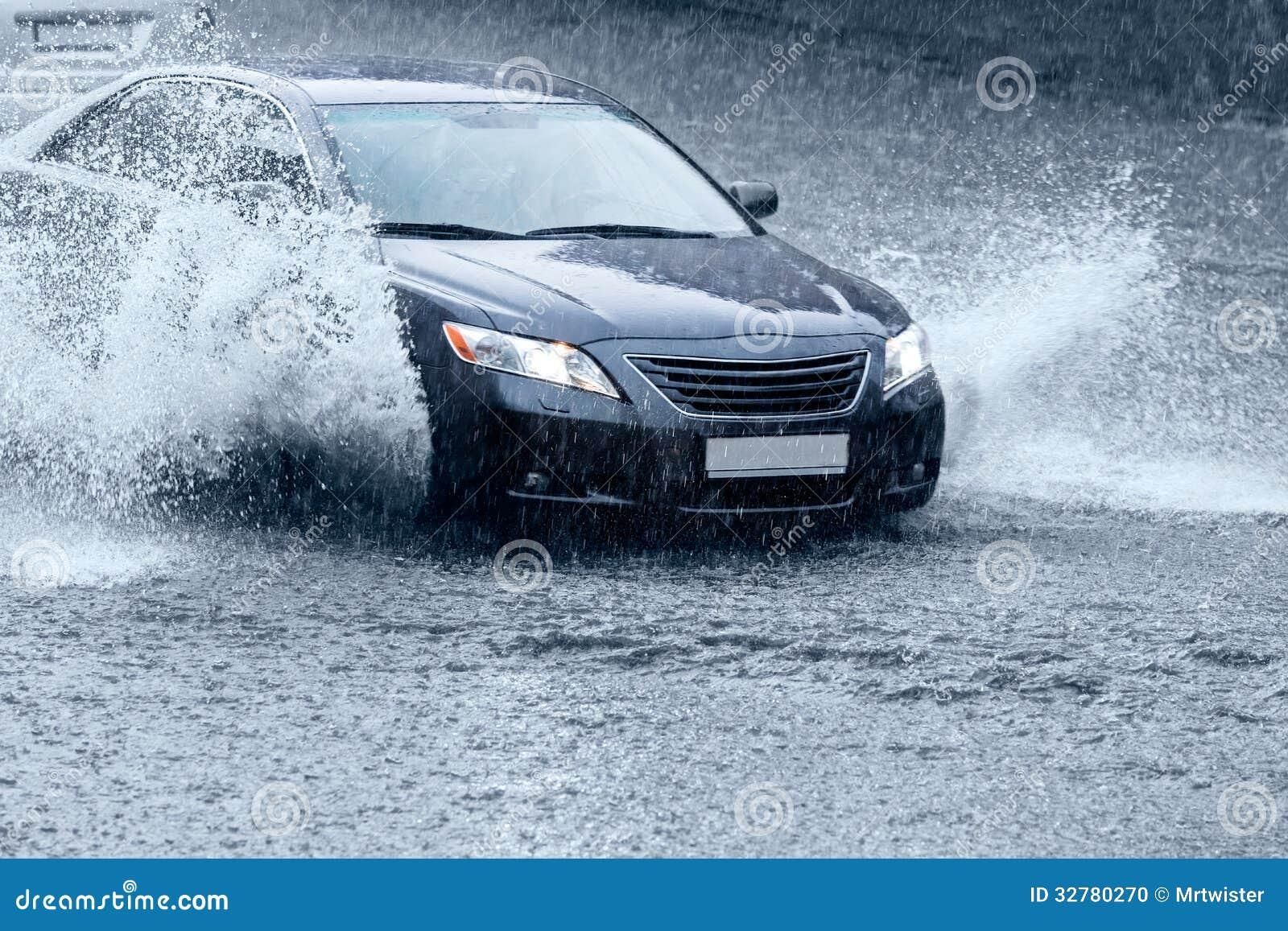 Car On Wet Road Stock Photo Image 32780270