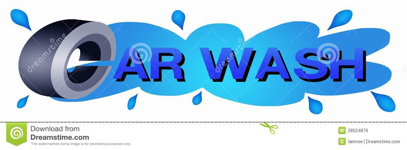 Car Wheel With Blue Color Of Car Wash Sticker Stock Illustration