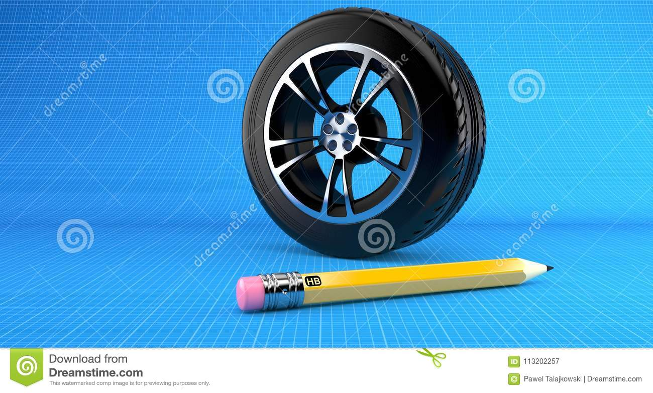 Car wheel stock illustration illustration of concept 113202257 car wheel on blueprint background malvernweather Gallery