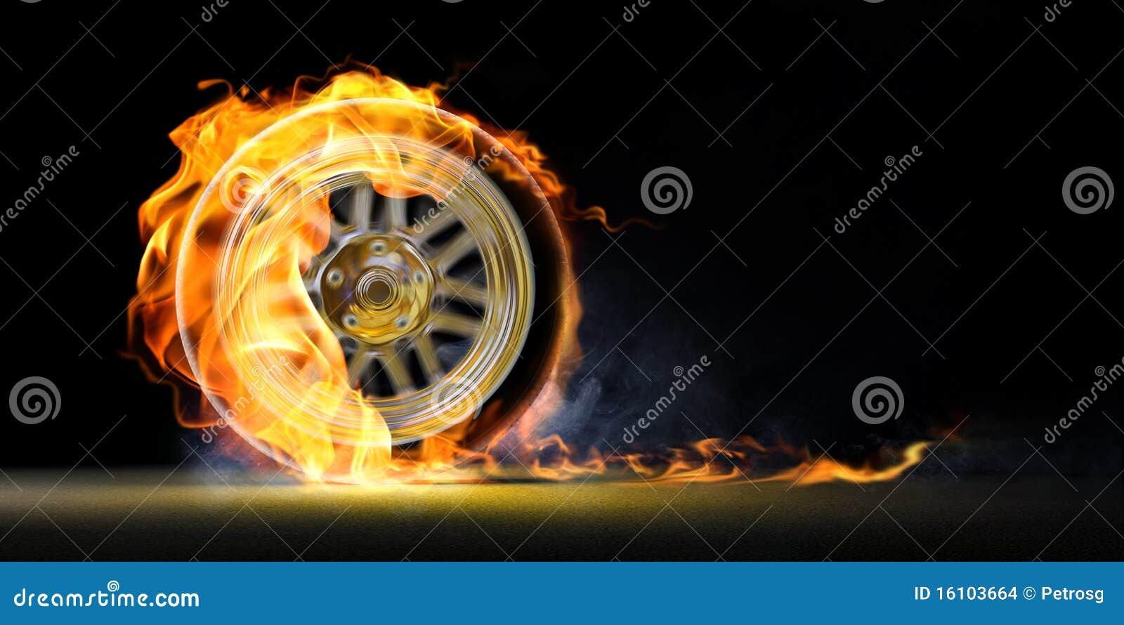 Car wheel on fire stock illustration. Image of road ...