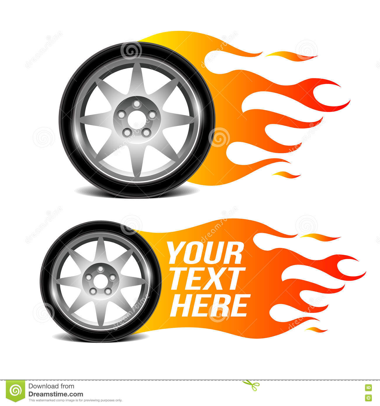 Car Wheel With Fire Flame, Car Related Sign. Stock Vector ...