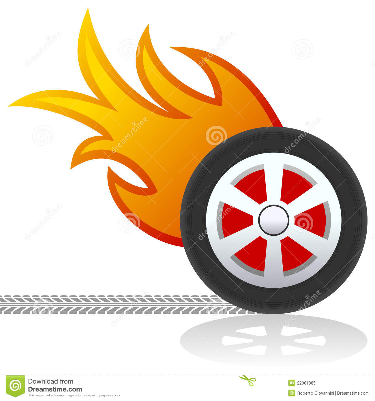 Car Wheel With Flames Logo Stock Vector Illustration Of Clip 22961885