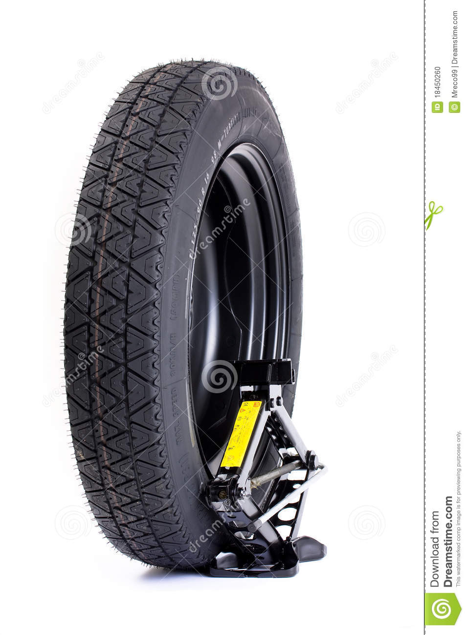 Car wheel and jack isolated