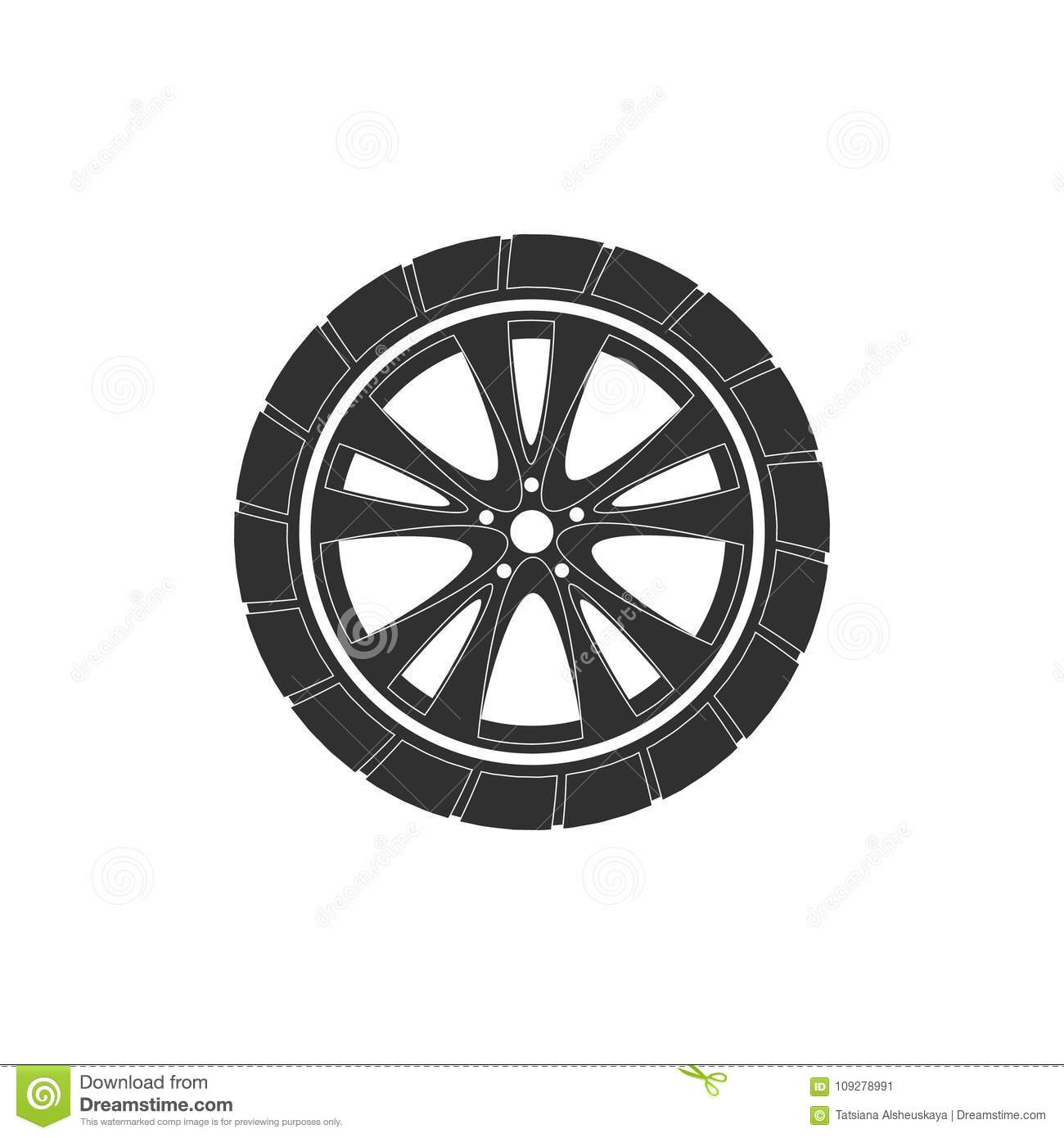 abf5818f0305d7 Car Wheel. Icons In A Style Of Flat Design. Stock Vector ...