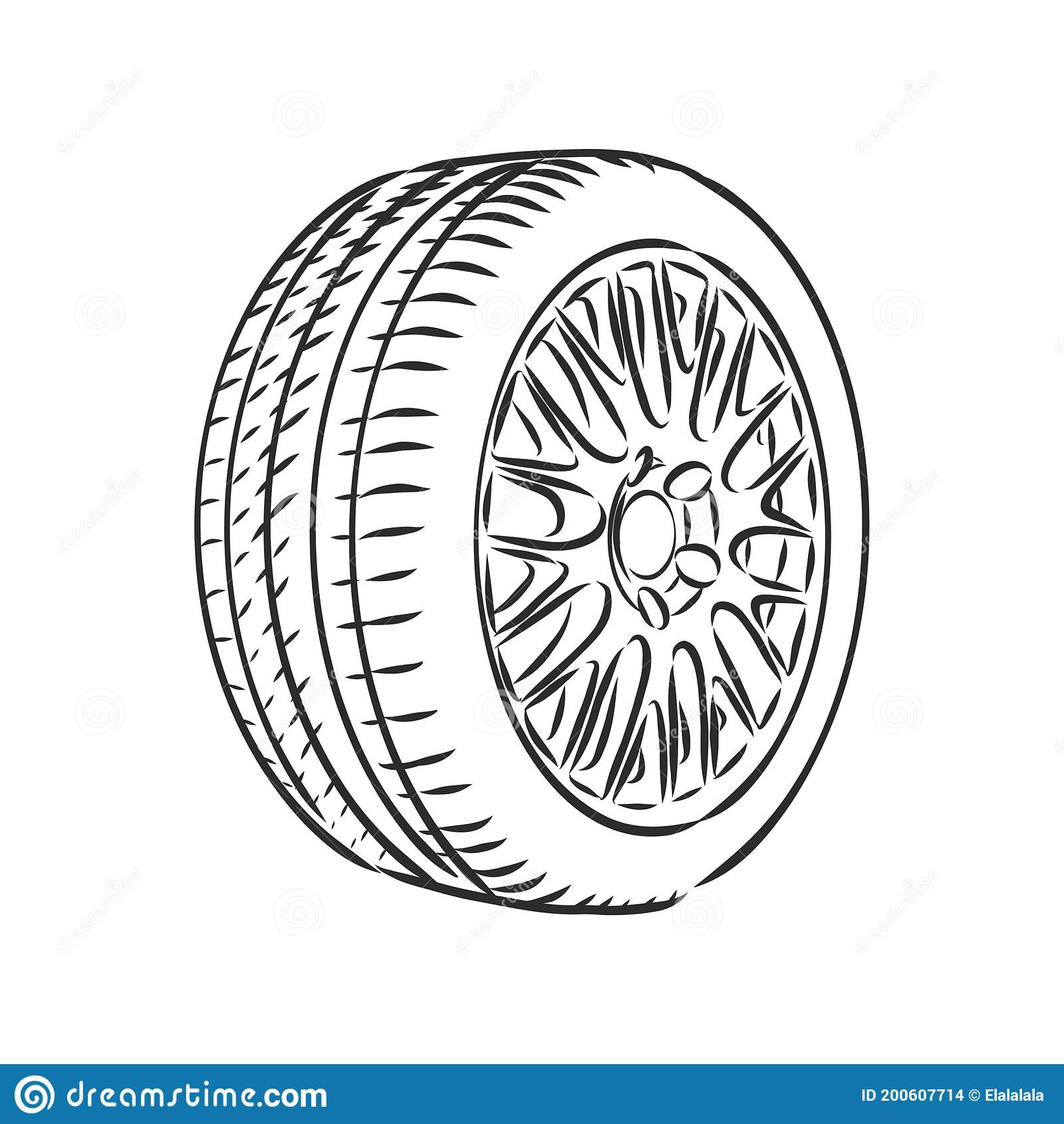 Car Wheel Vector Sketch Icon Isolated On Background Hand Drawn Car Wheel Vector Sketch Illustration Stock Illustration Illustration Of Hand Line 200607714
