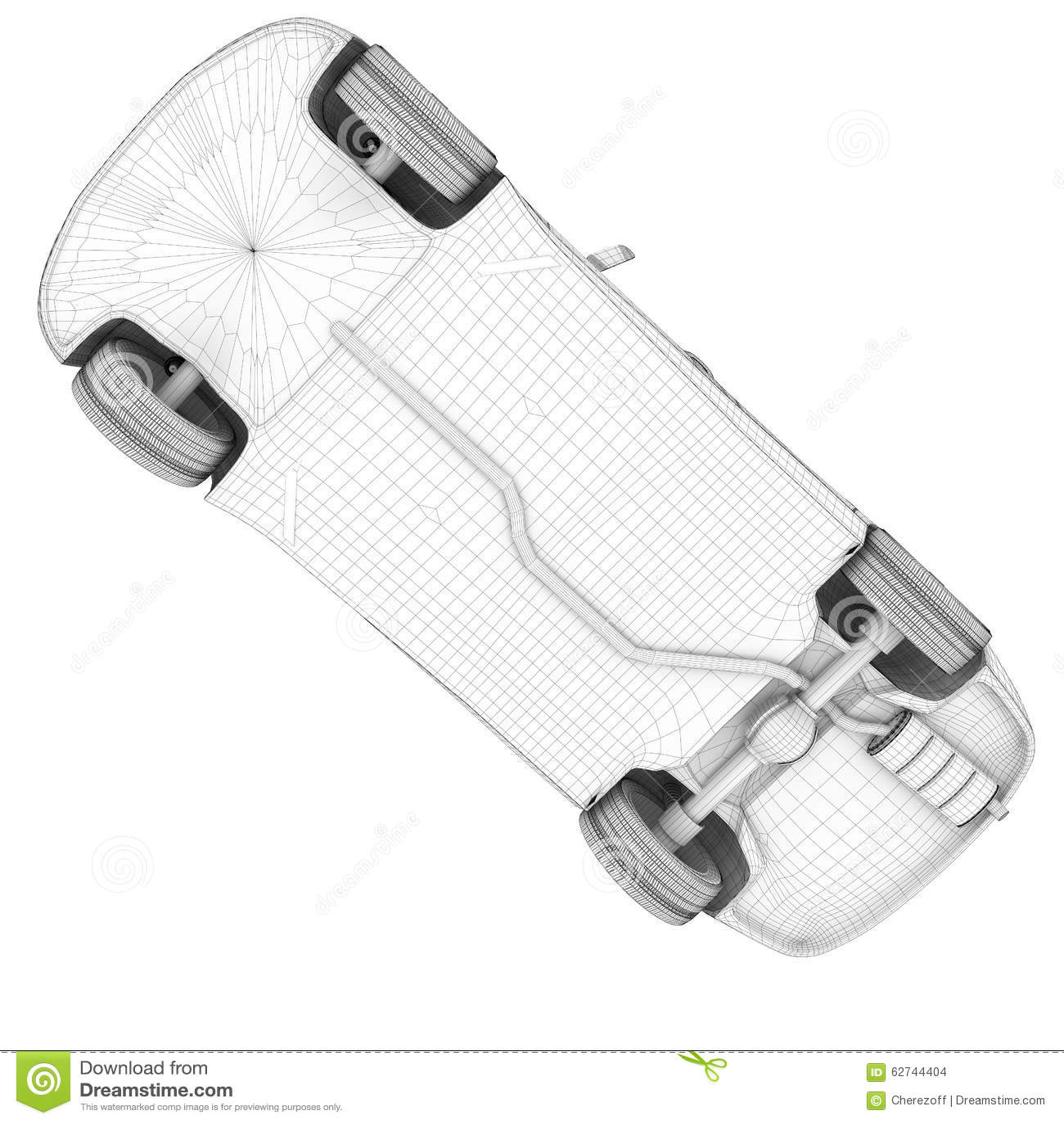 Car On White, Bottom View Stock Illustration - Image: 62744404