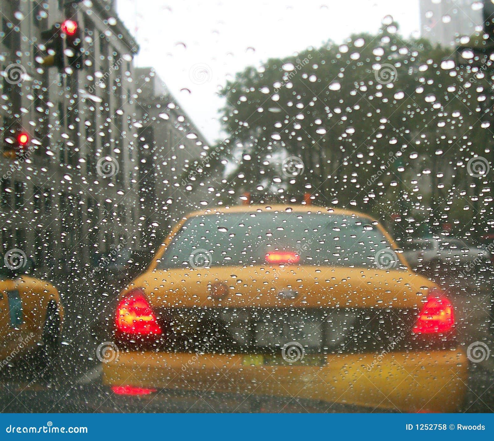 Car Window Cab Taxi Ny New York City Rain Stock Photo