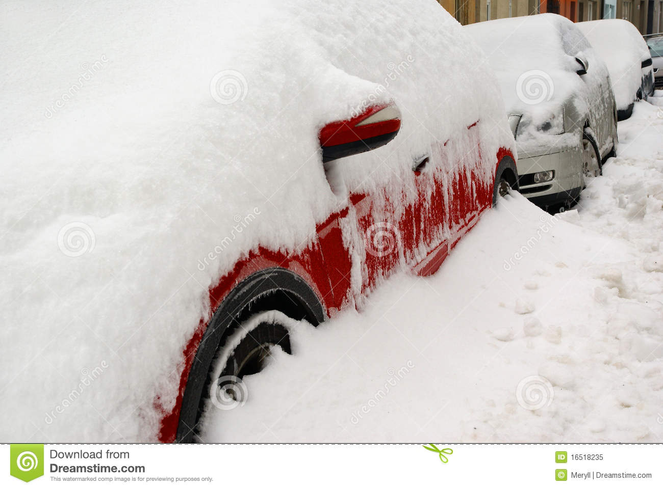 Car Winter Parking In Snow Royalty Free Stock Photo - Image: 16518235