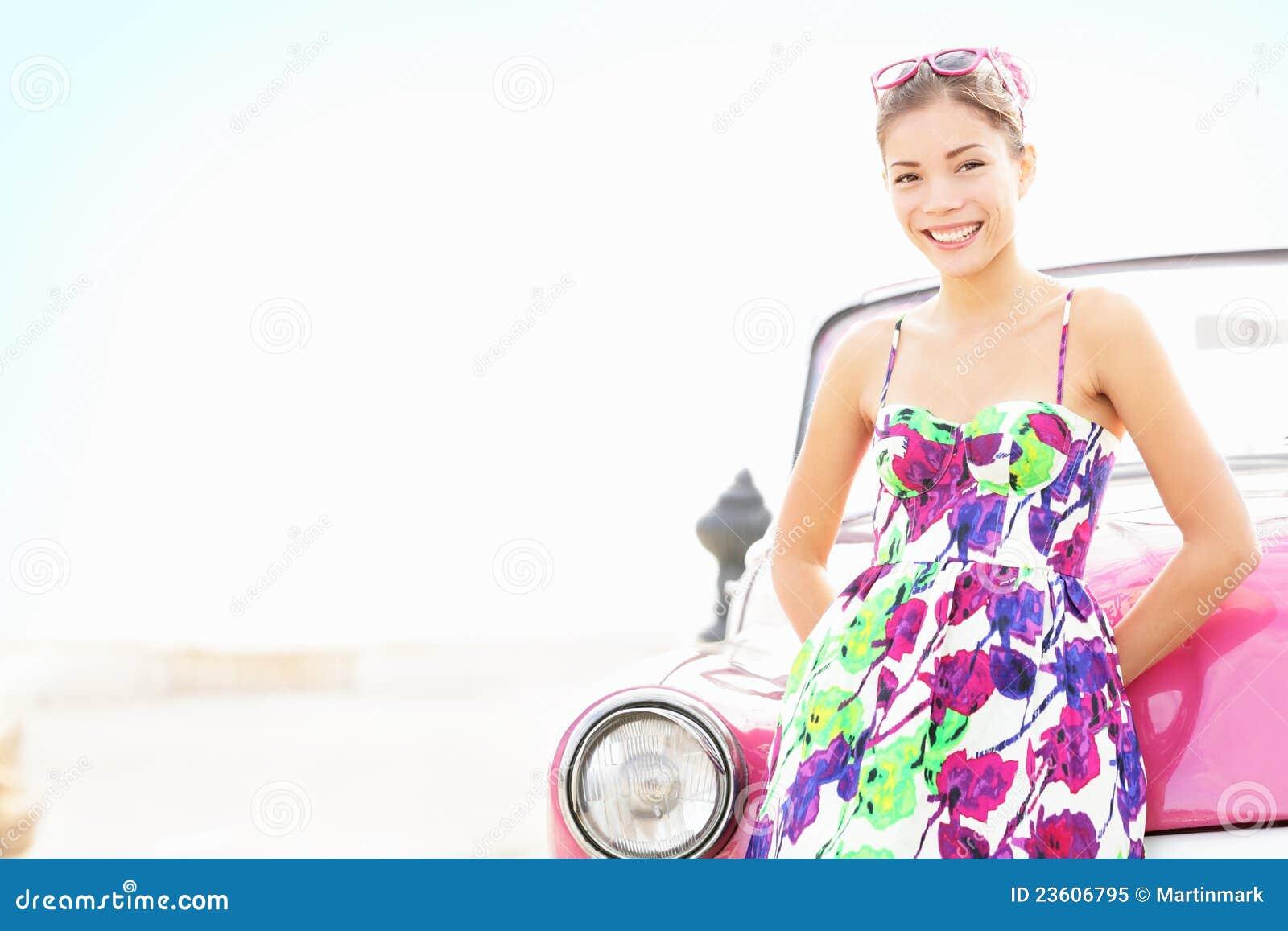 Car woman smiling happy
