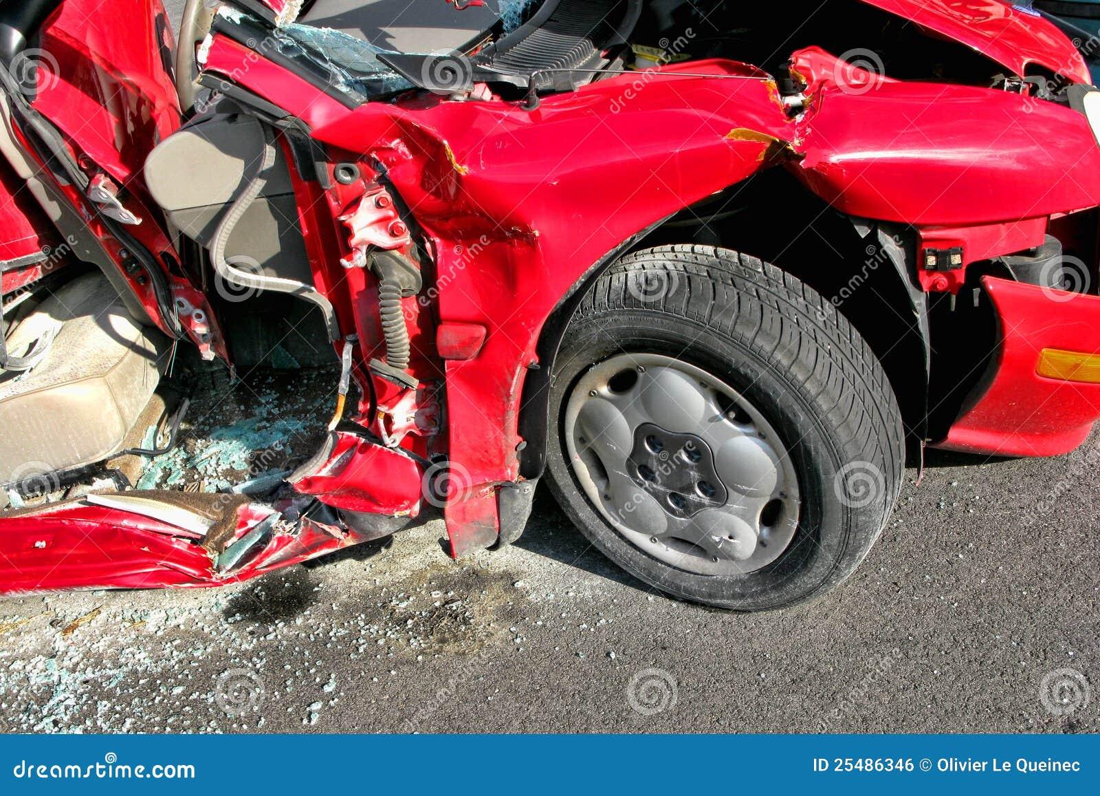 Car Wreck Demolished after Serious Crash Accident