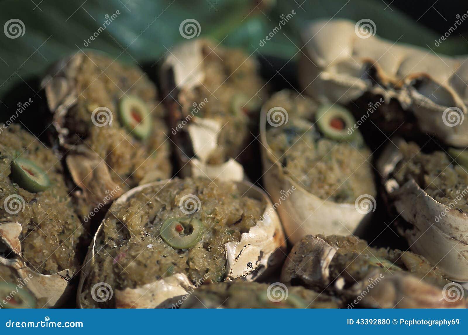 Caraïbisch voedsel: krab-rug