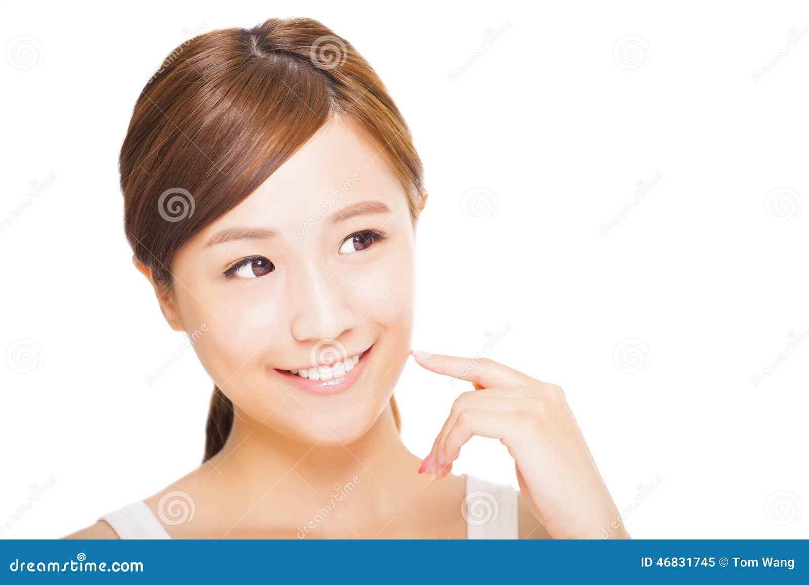 Cara asiática joven de la mujer