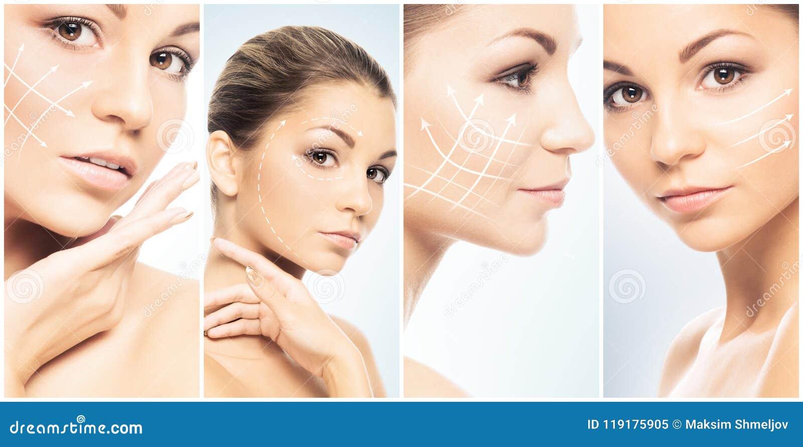 Cara bonita da menina nova e saudável na coleção da colagem Cirurgia plástica, cuidados com a pele, cosméticos e levantamento de