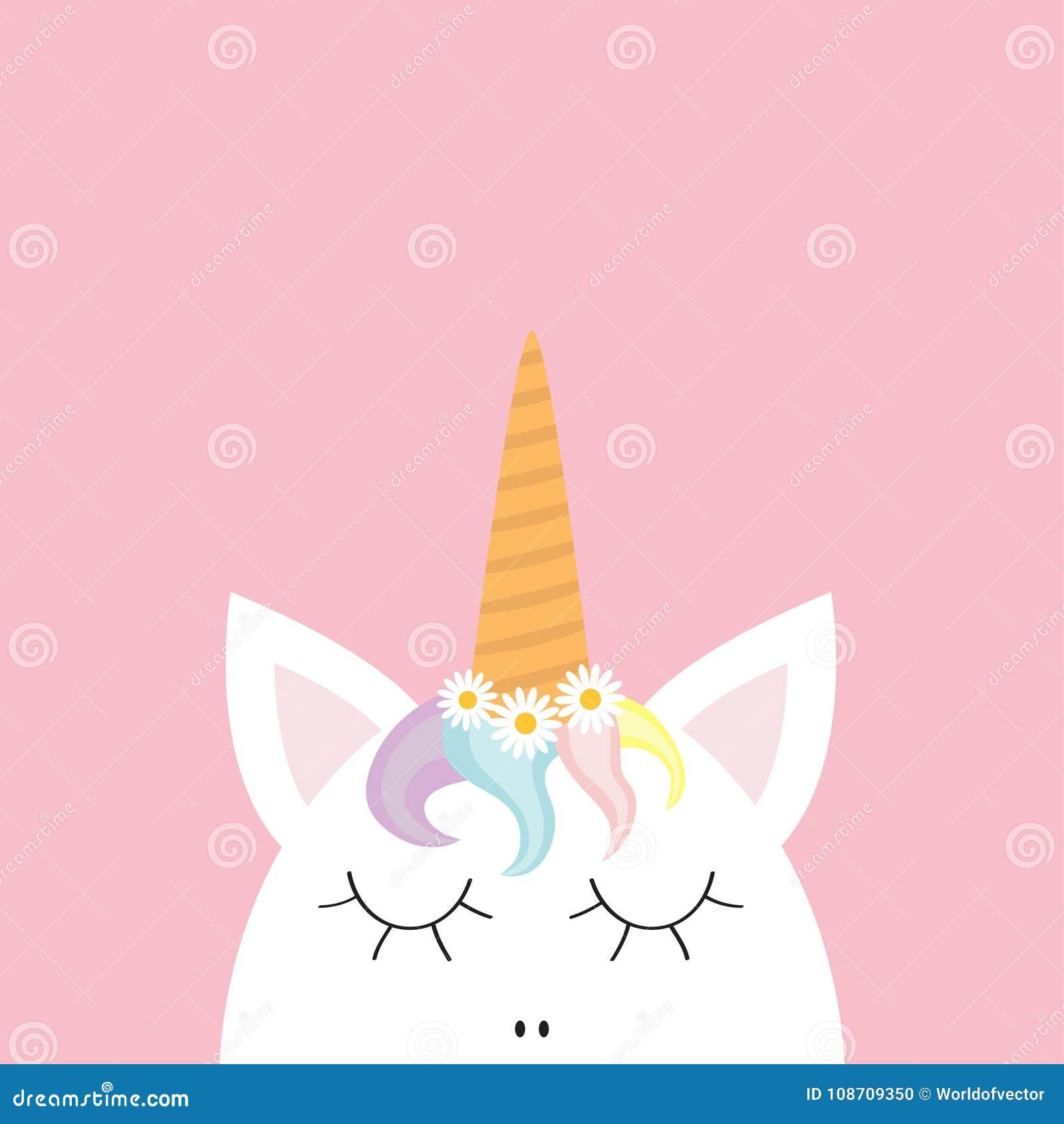 Cara bonito da cabeça do unicórnio Cabelo do arco-íris, grupo da flor da camomila da margarida branca Projeto liso da configuraçã