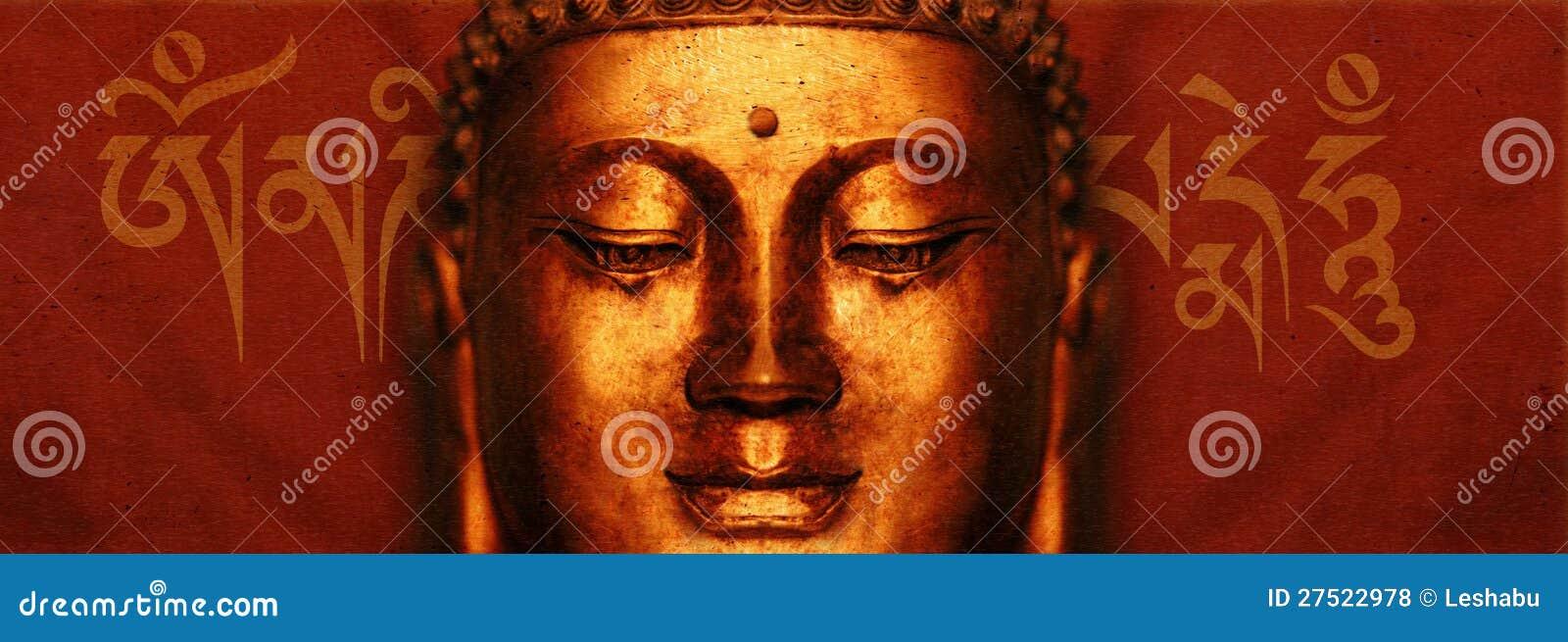 Cara de Buddha con mantra