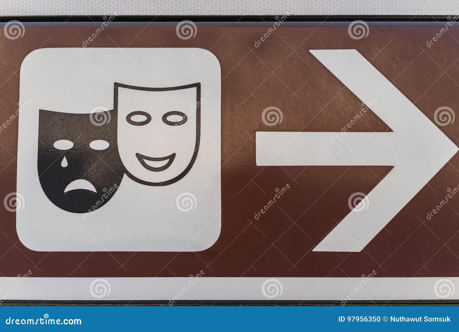Cara de grito e de riso tradicional como o teatro ou o sinal de broadway