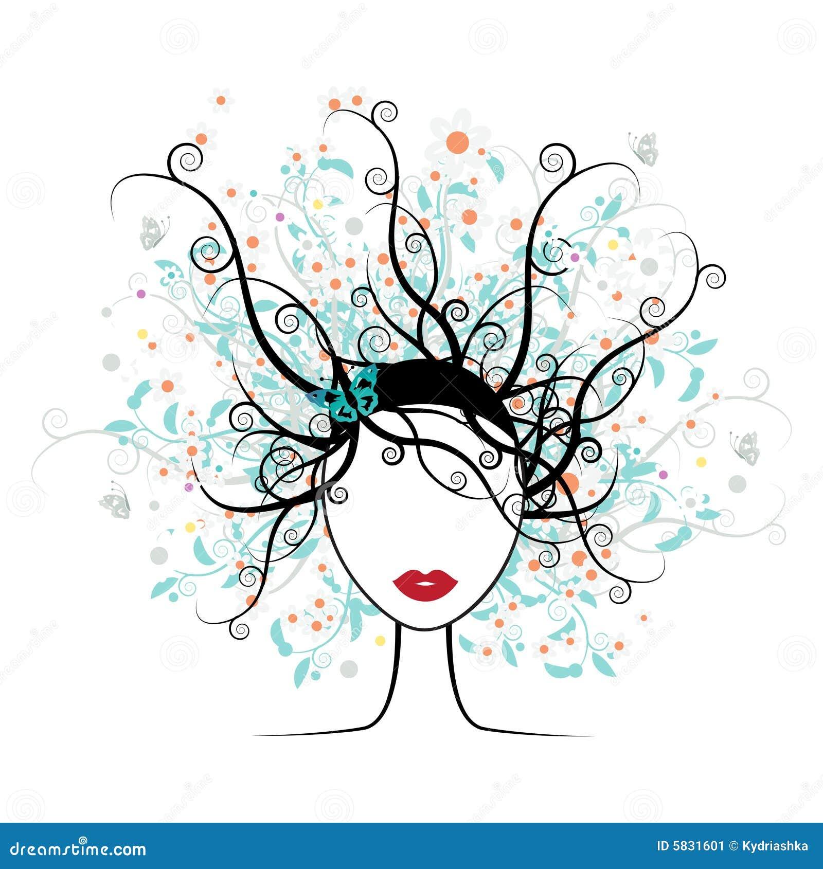 Cara de la muchacha, peinado floral