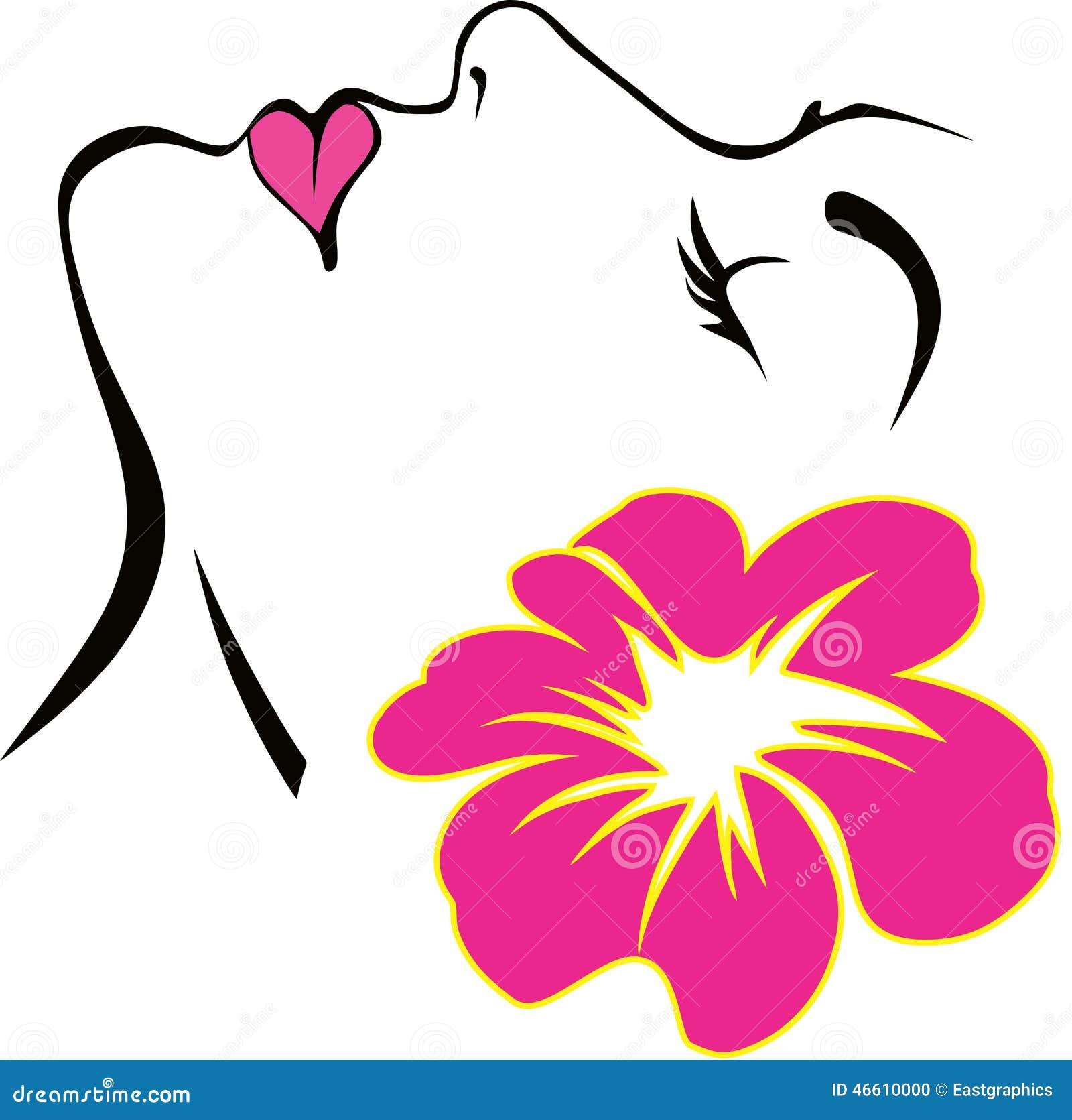 Cara De La Mujer Con Vector Rosado De La Flor Ilustración