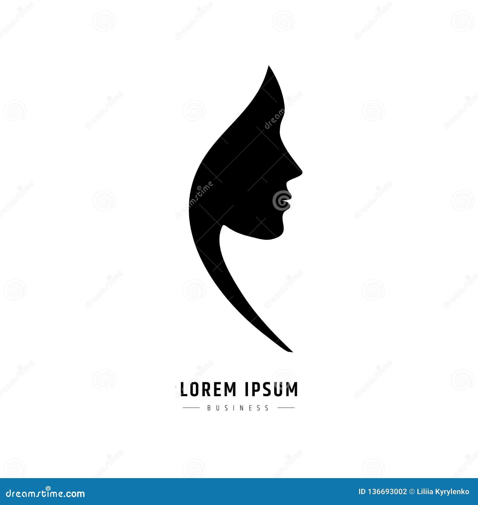 Cara de la mujer del logotipo Logotipo para un salón de belleza o procedimientos para los cosméticos o el peluquero del pelo