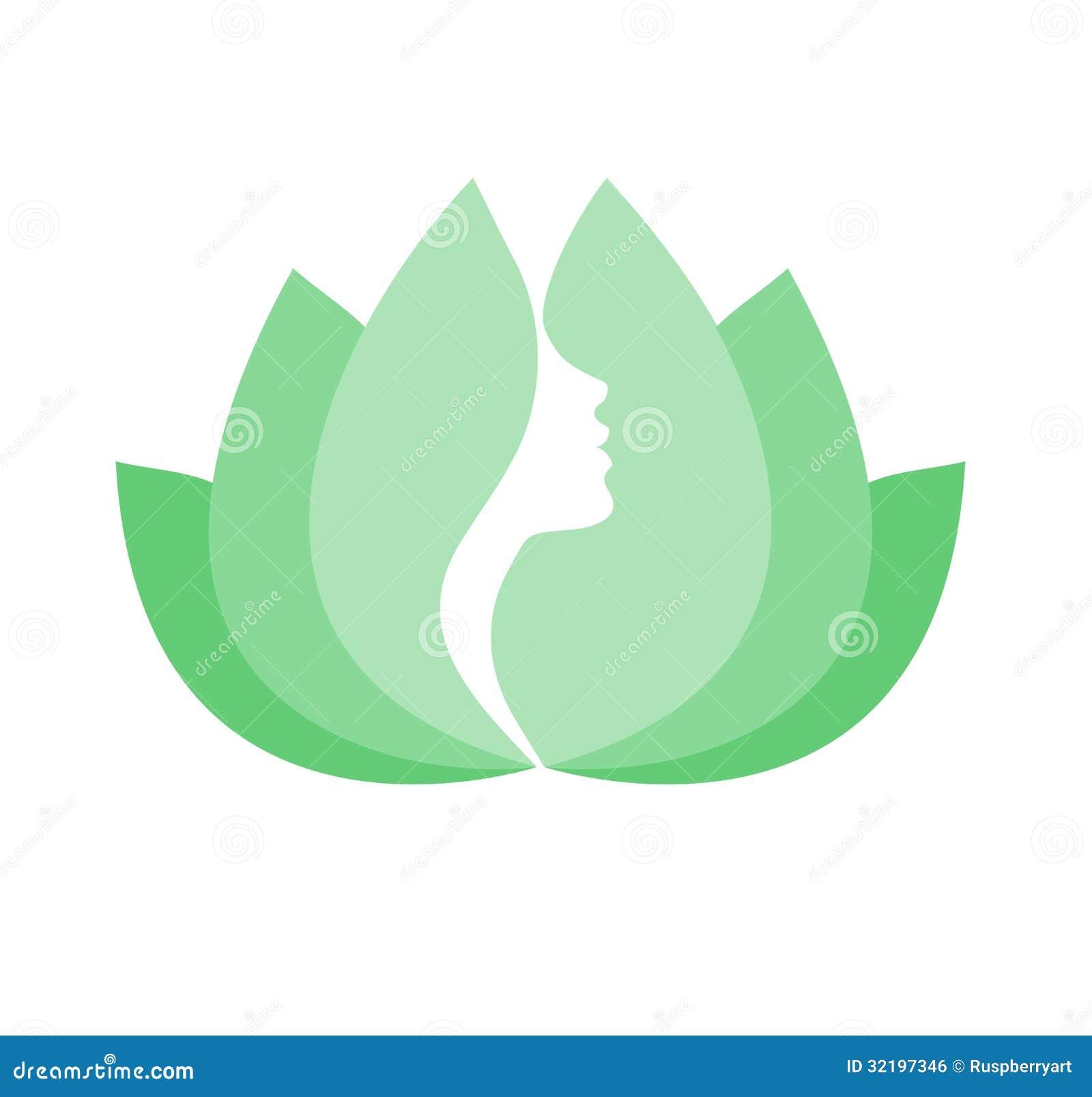 Cara De La Mujer En Flor De Loto Verde Ilustración Del Vector
