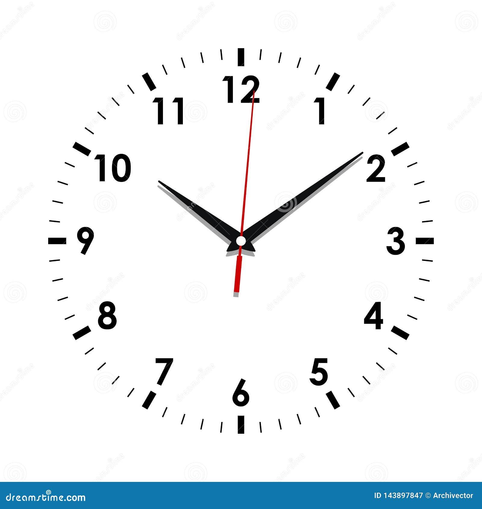 Cara de reloj en el blanco