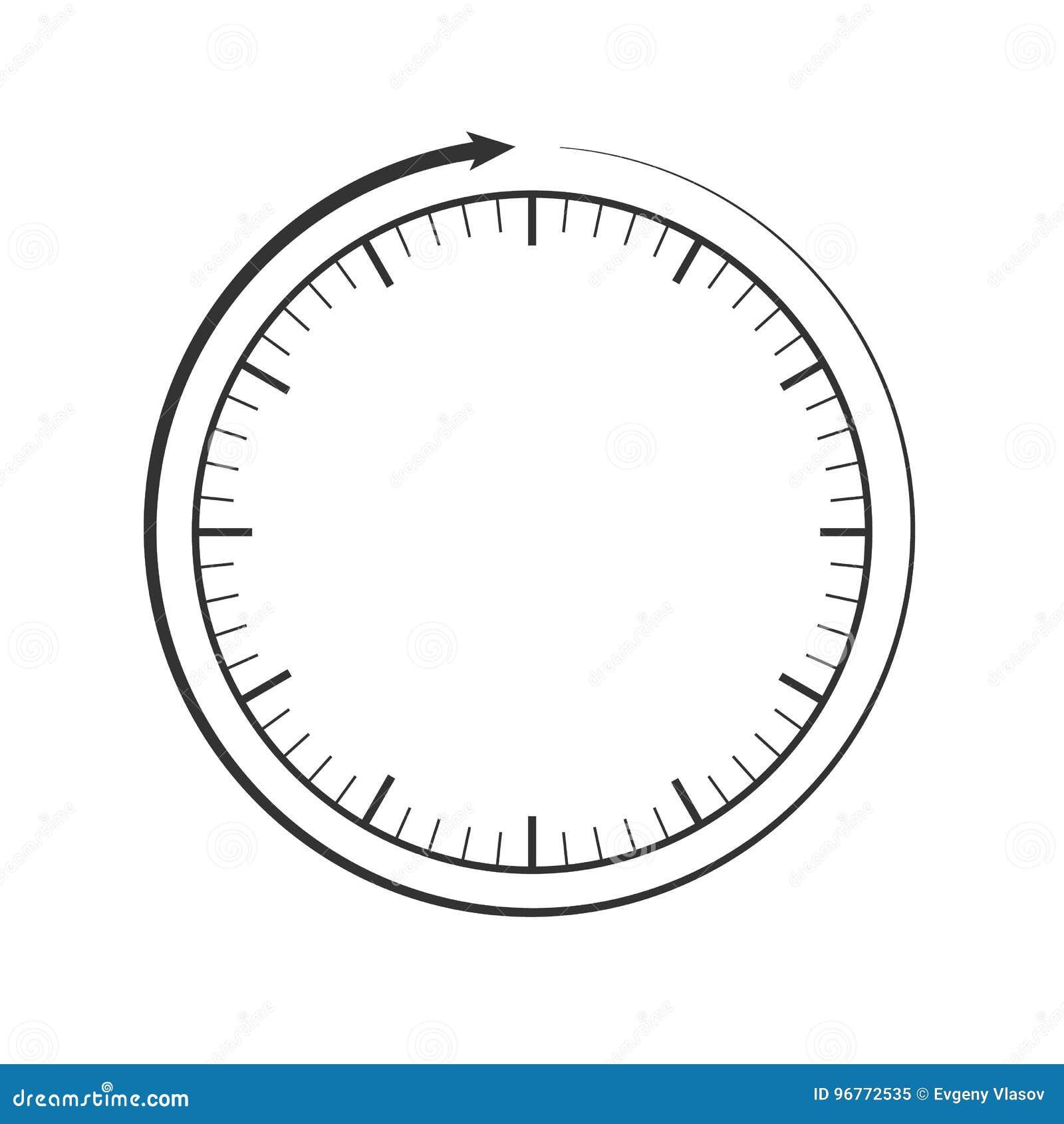 Cara De Reloj Y Plantilla De La Flecha De La Circular Gris, Color De ...
