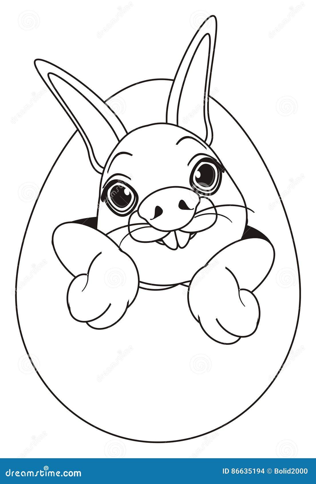 Cara Del Colorante Del Conejo En El Huevo Stock De Ilustración