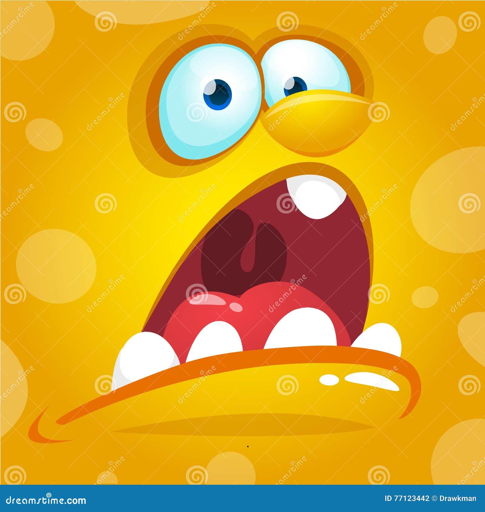 Cara del monstruo de la historieta Avatar de griterío del monstruo del amarillo de Halloween del vector