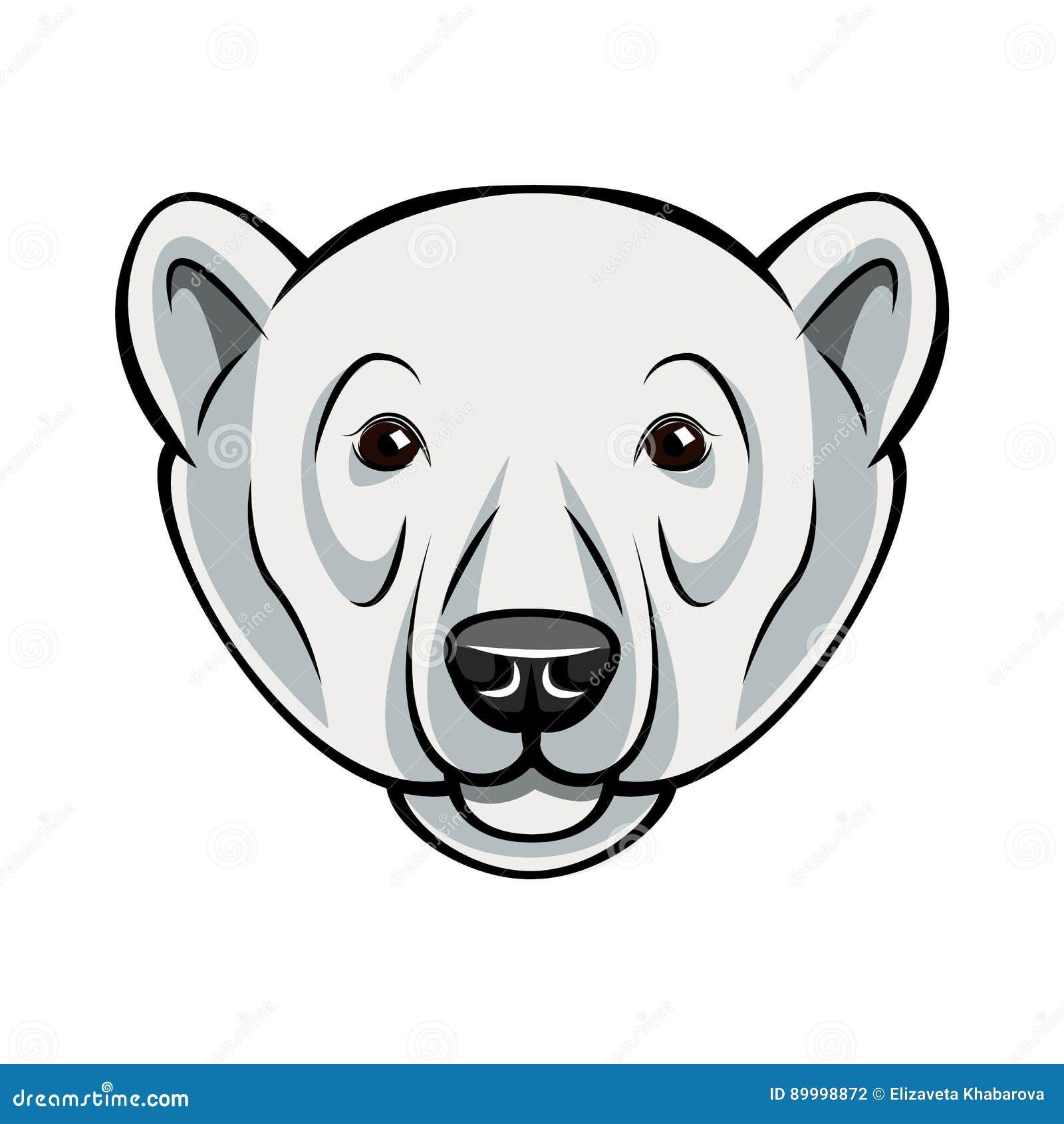 Cara Del Oso Polar Ejemplo Del Vector Aislado En Blanco Ilustración ...