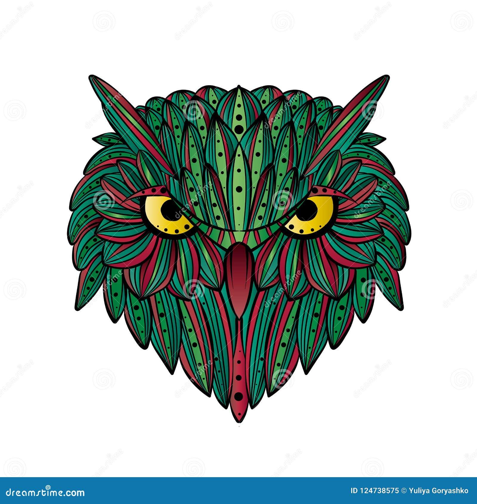 Cara dibujada mano del búho del vector Arte de Zentangle Ejemplo modelado étnico para el libro de colorear antiesfuerzo, tatuaje,