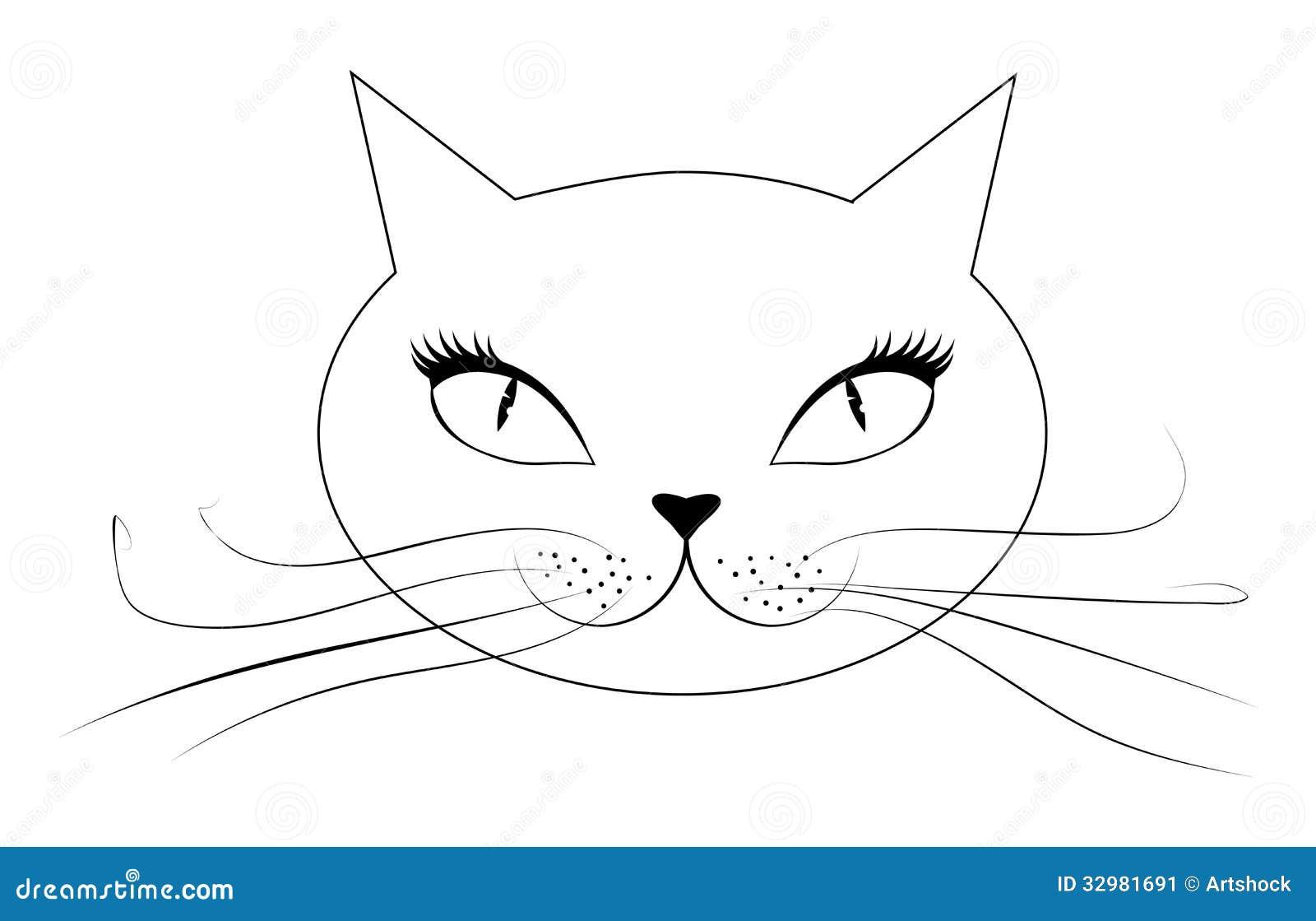 cara do gato dos desenhos animados ilustração do vetor ilustração