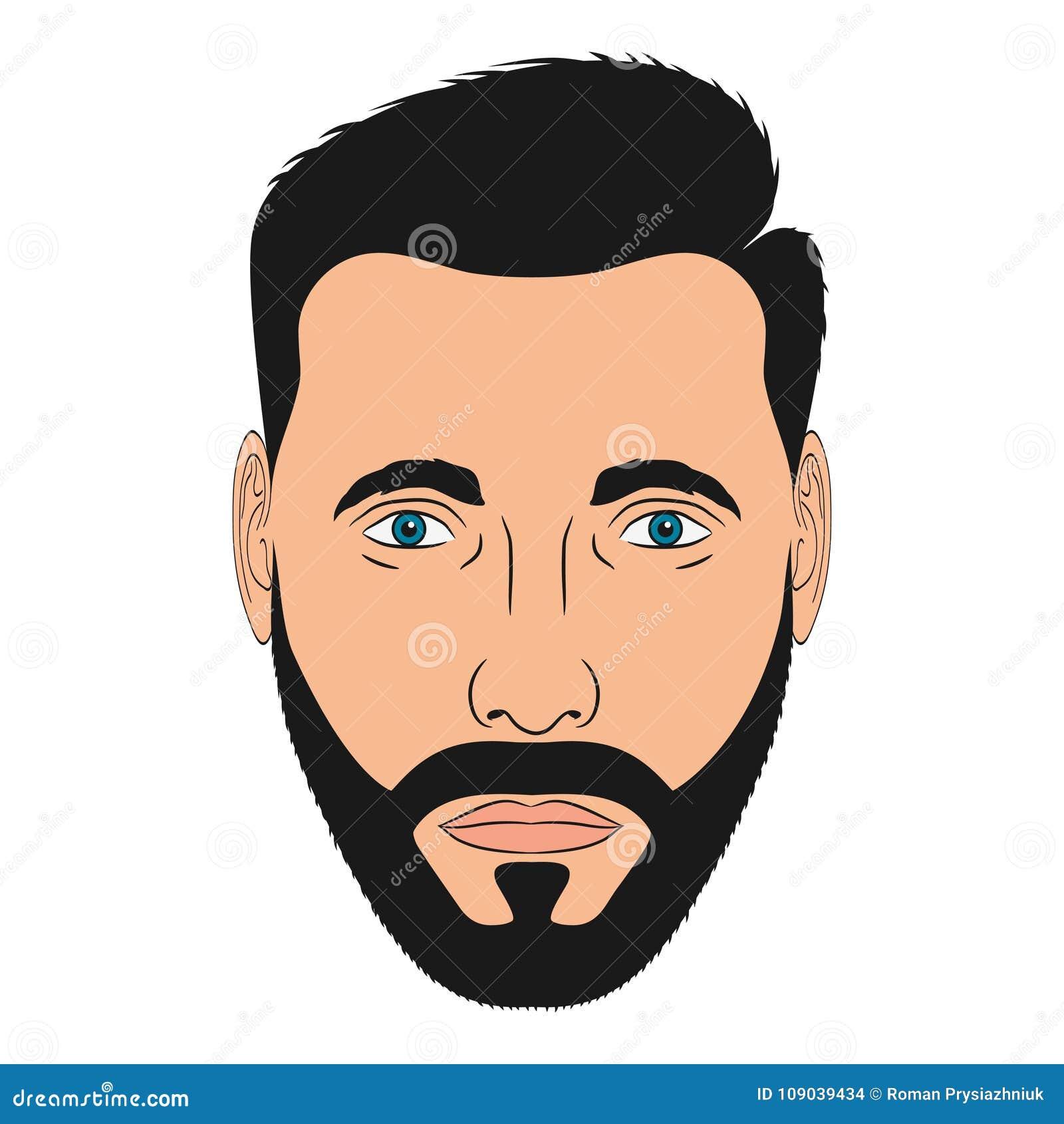Cara Do Homem Com Barba Cabeca Masculina No Estilo Dos Desenhos