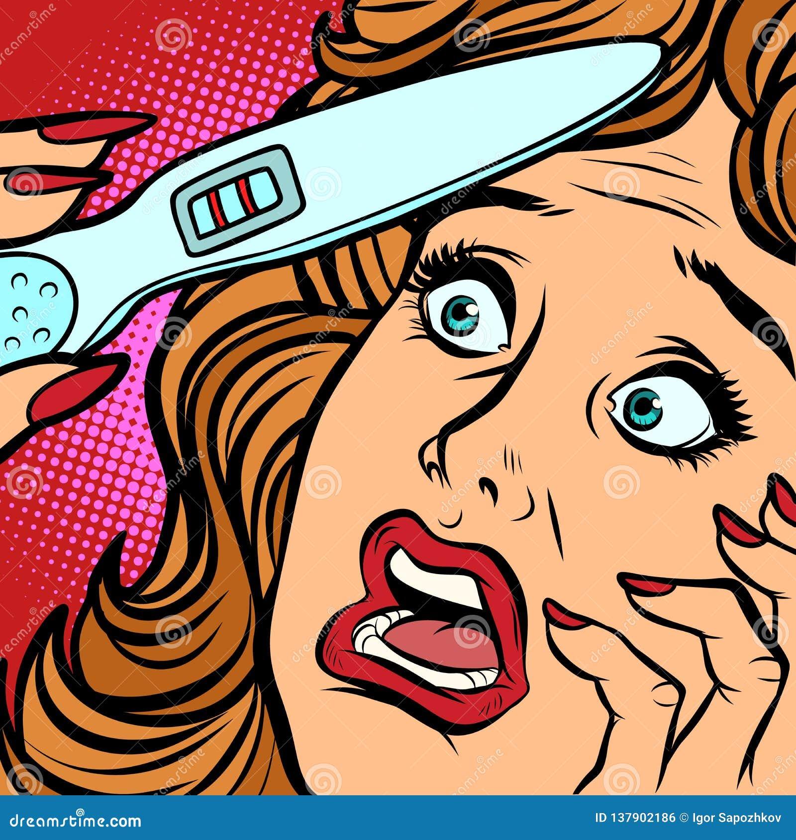 Cara do medo da mulher das tiras do teste de gravidez dois