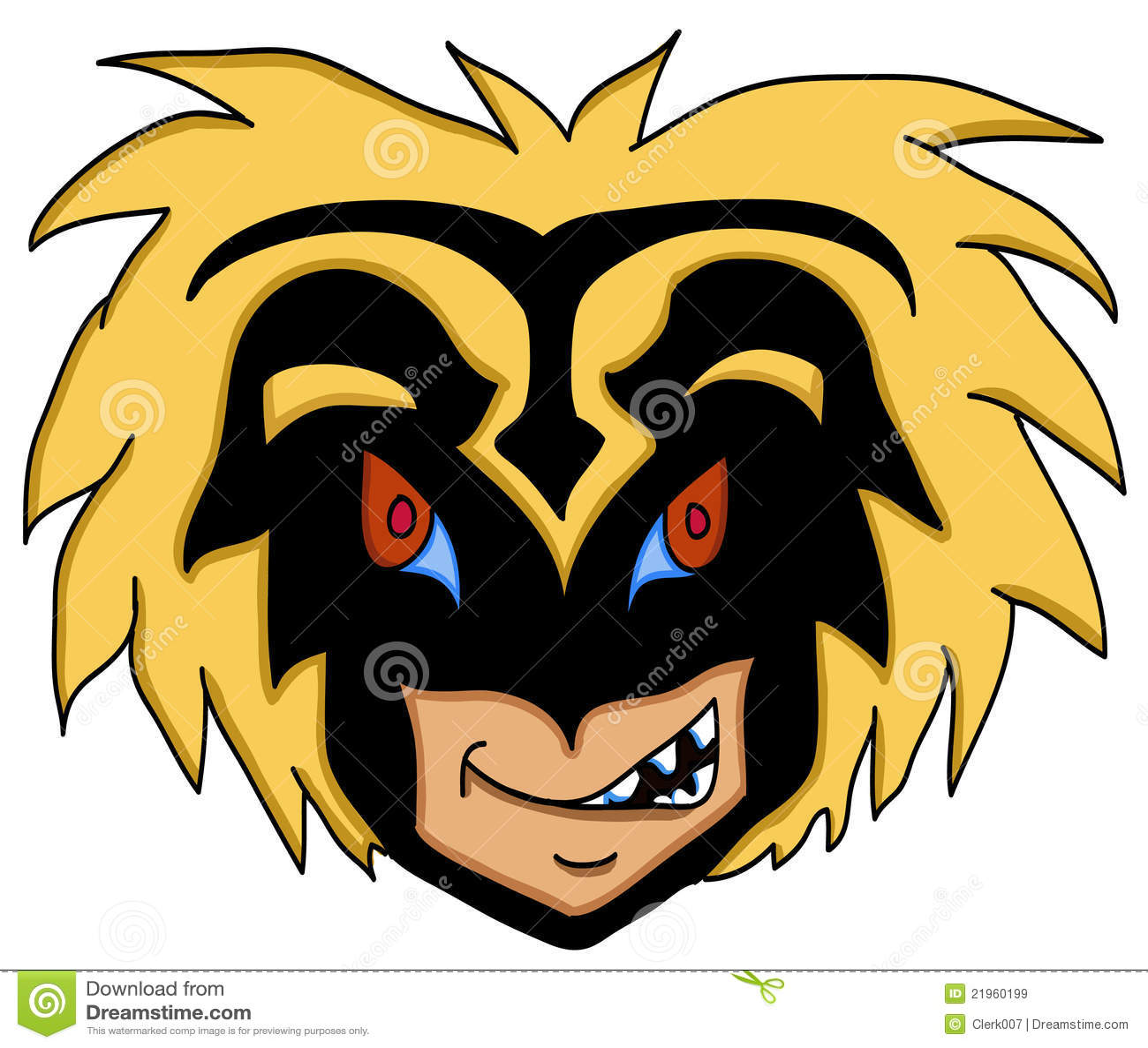 Cara enojada con la máscara