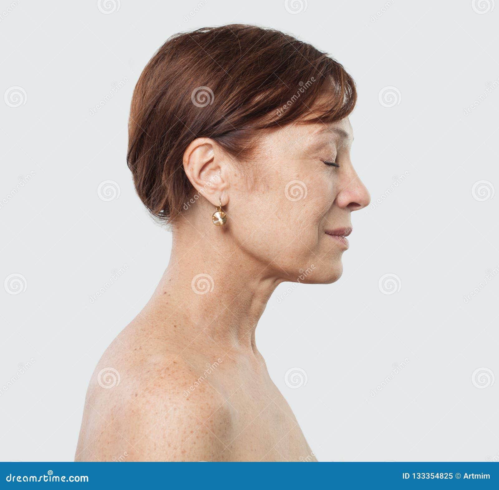 Cara fêmea madura Tratamento facial, cosmetologia