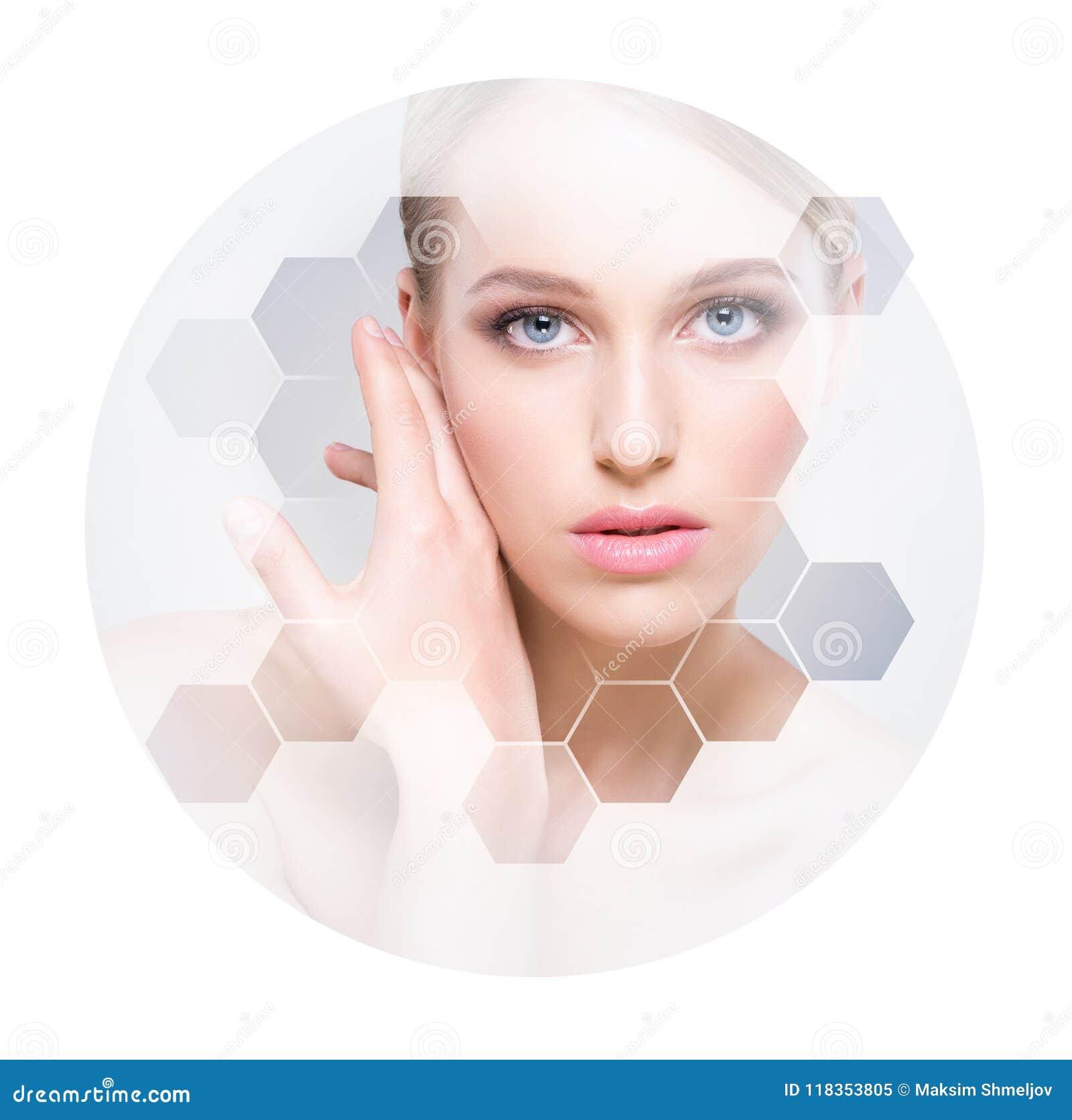 Cara hermosa de la muchacha joven y sana Cirugía plástica, cuidado de piel, cosméticos y concepto de la elevación de cara