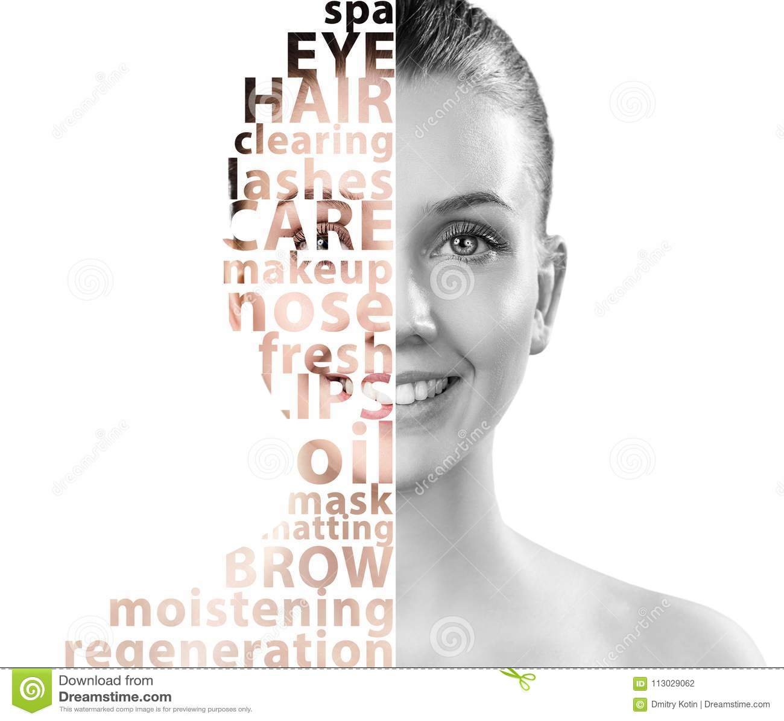 Cara hermosa de la mujer con palabras de la belleza de la etiqueta
