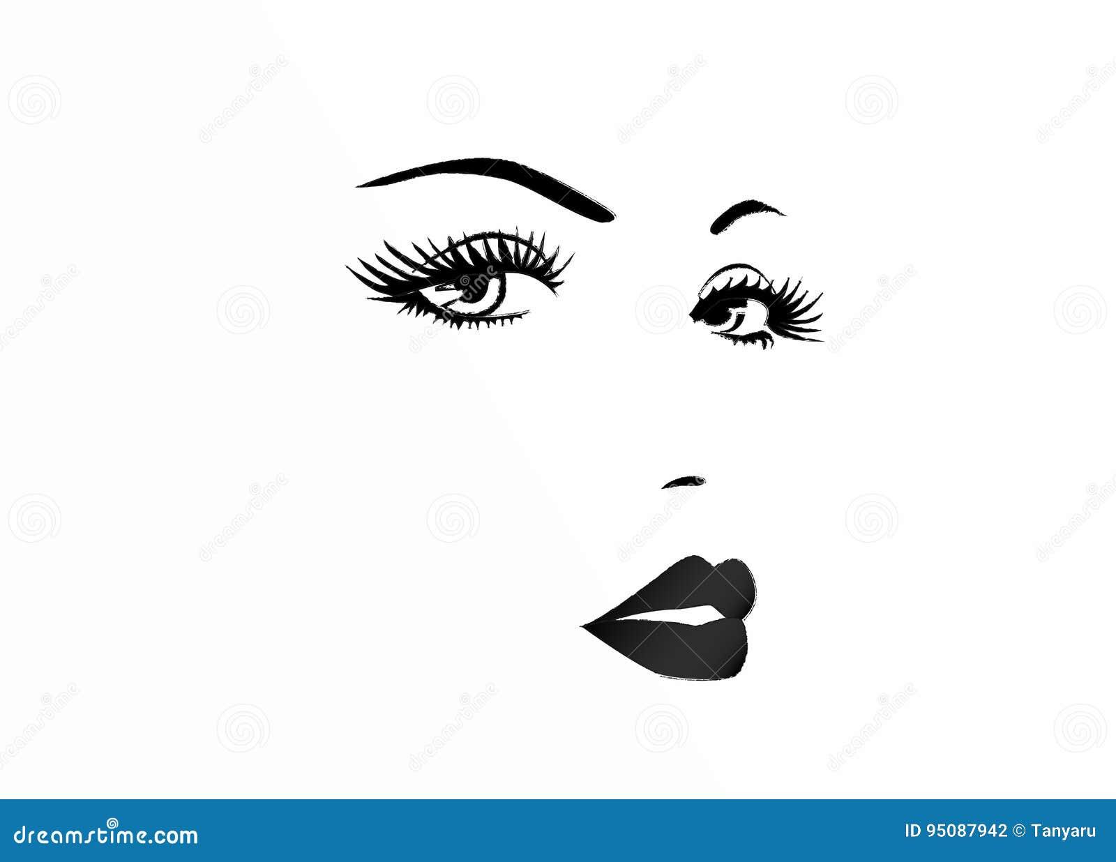 Cara hermosa de una mujer, ejemplo blanco y negro del vector