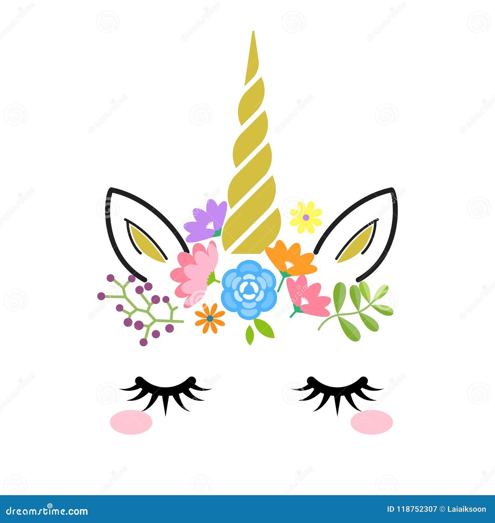 Cara Linda Del Unicornio Con El Cuerno Y Las Flores Del Oro Aislados