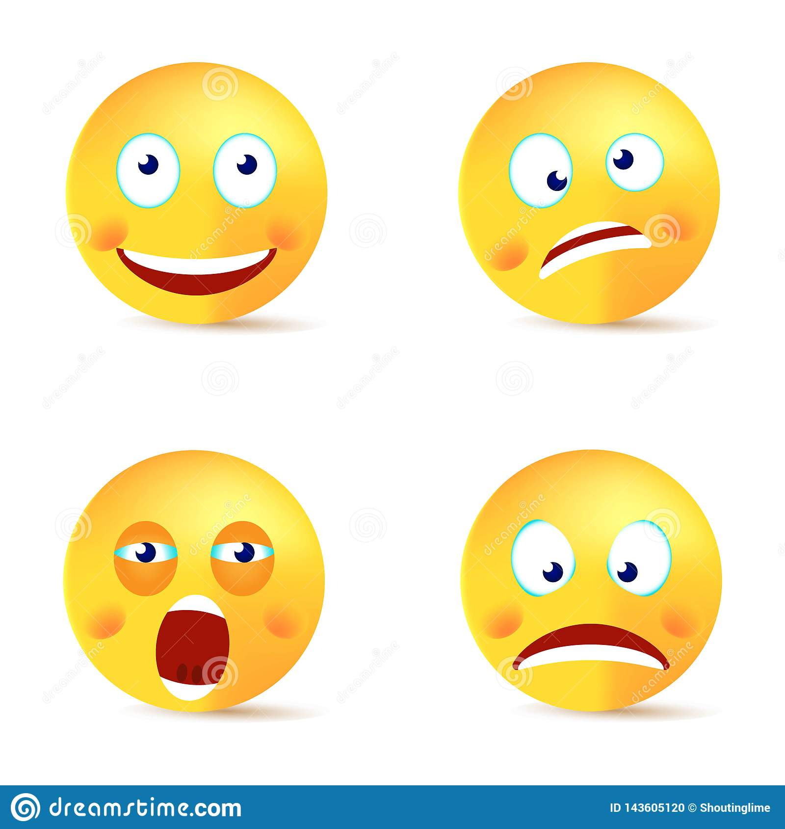 Cara loca feliz del bostezo del sistema sonriente del vector