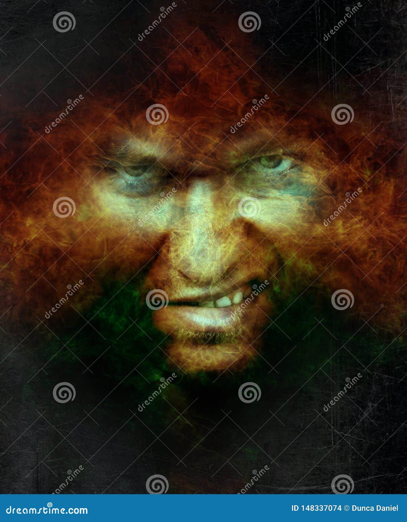 Cara masculina enojada asustadiza sobre el fuego del infierno