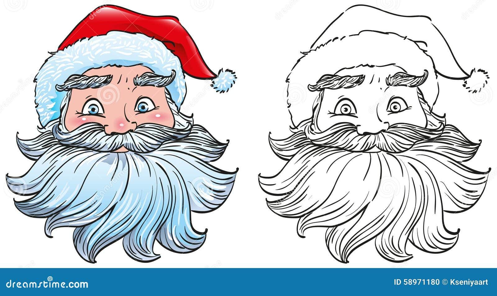 Cara Principal De Santa Claus En Un Sombrero Rojo Con El