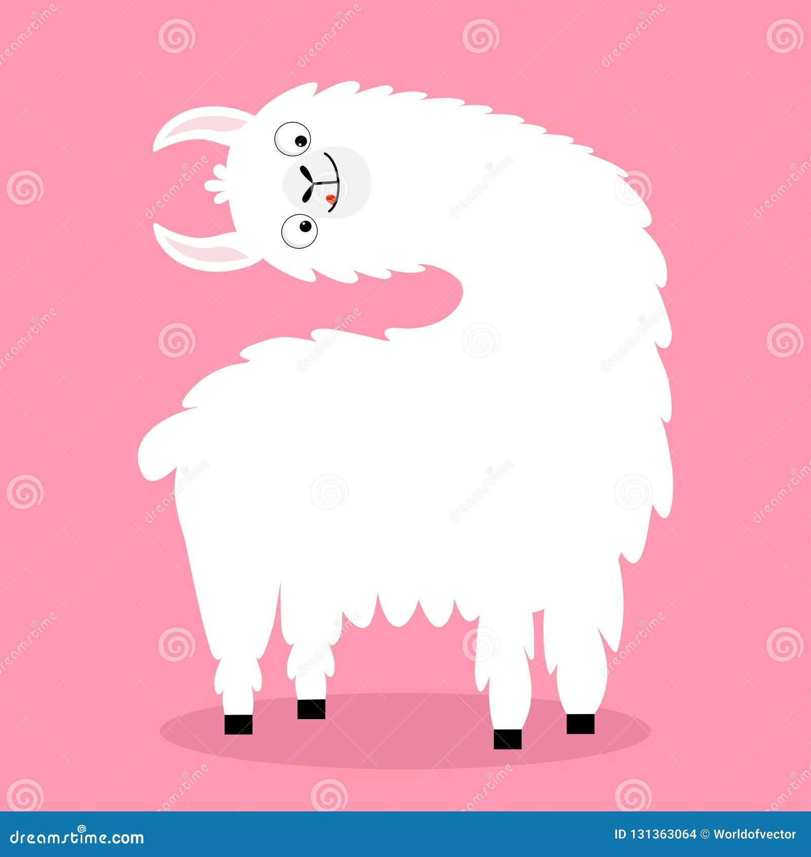Cara principal de torneado de la alpaca de la llama, lengua Carácter divertido del kawaii de la historieta linda Piel mullida del